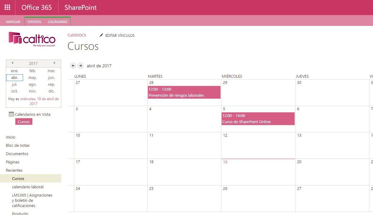 sharepoint online calendario